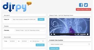 Dirpy, descargar mp3 de YouTube sin instalar plugins